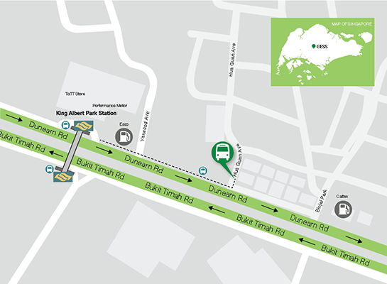 map of pick-up/drop off point for shuttle bus to best international school singapore
