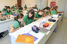 Students learning at international school